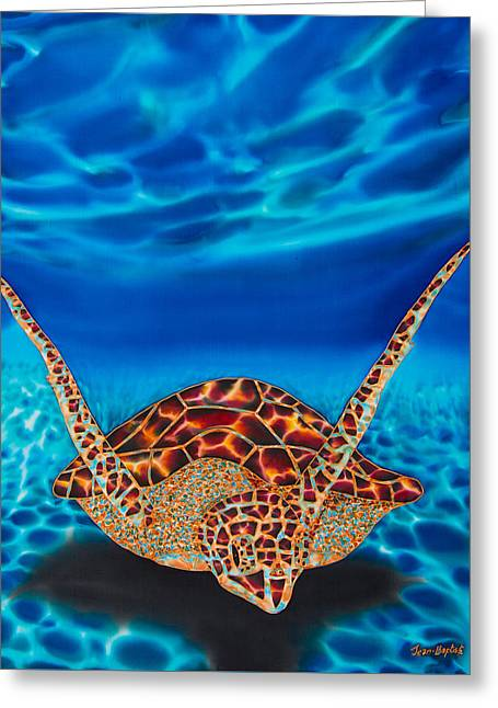 Print Tapestries - Textiles Greeting Cards - Hawksbill Sea  Turtle II Greeting Card by Daniel Jean-Baptiste