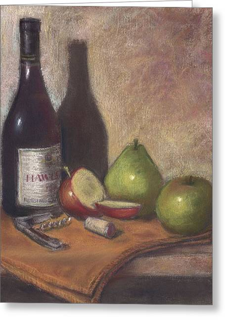 Sonoma Pastels Greeting Cards - Hawley Wine Tasting Greeting Card by Ellen Minter