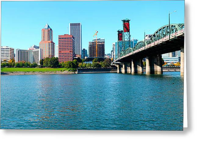 Willamette Greeting Cards - Hawthorne Bridge Across The Willamette Greeting Card by Panoramic Images