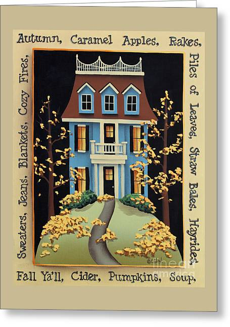 American Primitive Art Greeting Cards - Hawthorne Knoll Greeting Card by Catherine Holman