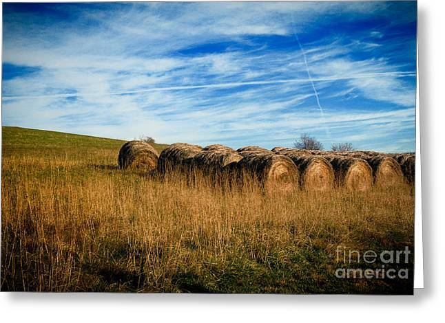 Round Greeting Cards - Hay Bales and Contrails Greeting Card by Amy Cicconi