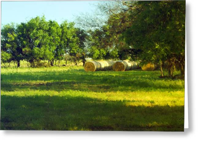 Enhanced Paintings Greeting Cards - Hay Bales  Greeting Card by Ann Powell