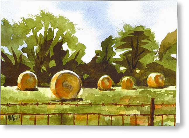 Hay Bales Greeting Cards - Hay Bales at Noontime  Greeting Card by Kip DeVore