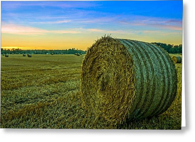 Wheat Field Sunset Print Greeting Cards - Hay Bales before Dusk Greeting Card by Alex Weinstein
