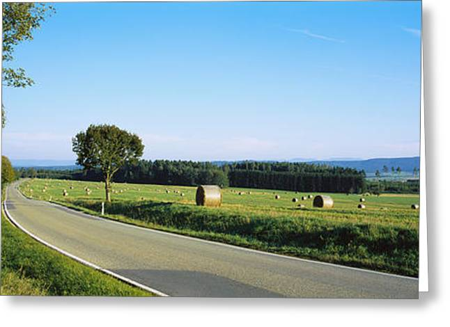 Hay Bales Greeting Cards - Hay Bales In A Field, Germany Greeting Card by Panoramic Images