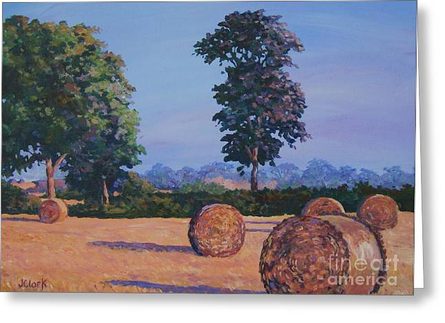 Bales Paintings Greeting Cards - Hay-bales in Evening Light Greeting Card by John Clark