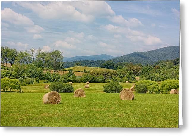 Farmers Field Greeting Cards - Hay Bales in Farm Field Greeting Card by Kim Hojnacki