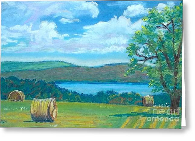 Bale Pastels Greeting Cards - Hay Bales in North Carolina  Greeting Card by Frank Giordano