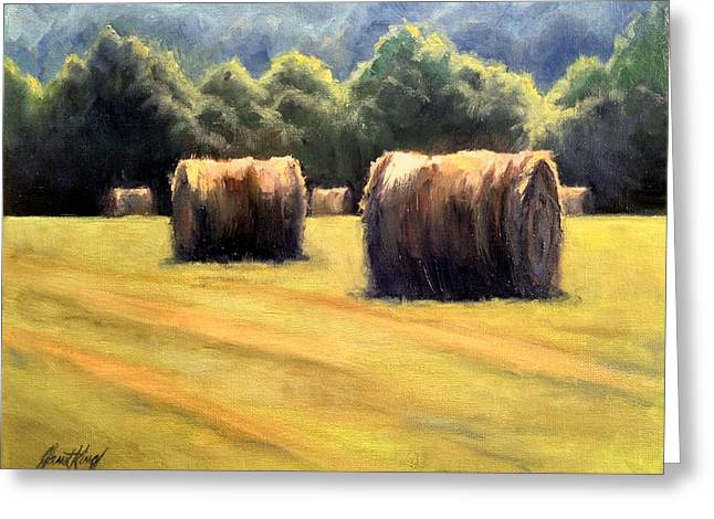 Hay Bales In Franklin Tennessee Paintings Greeting Cards - Hay Bales Greeting Card by Janet King