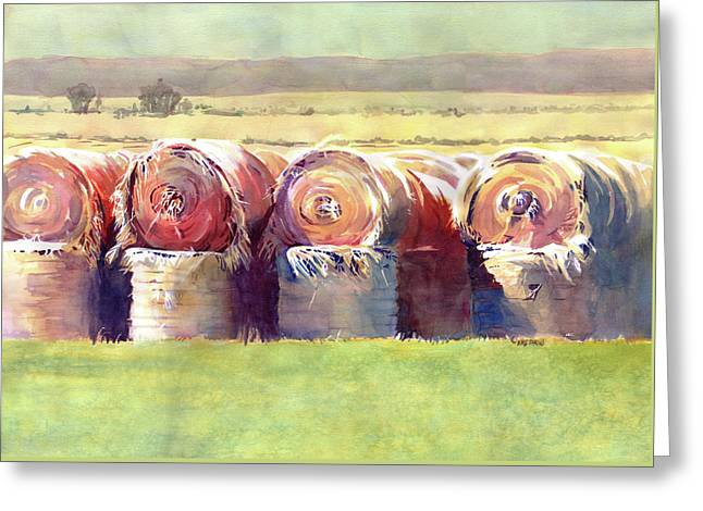 Haying Greeting Cards - Hay Bales Greeting Card by Kris Parins