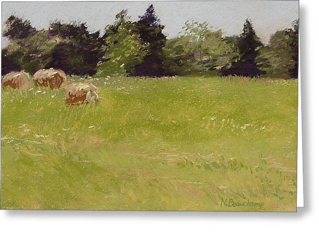 Bale Pastels Greeting Cards - Hay Bales Greeting Card by Nancy Beauchamp