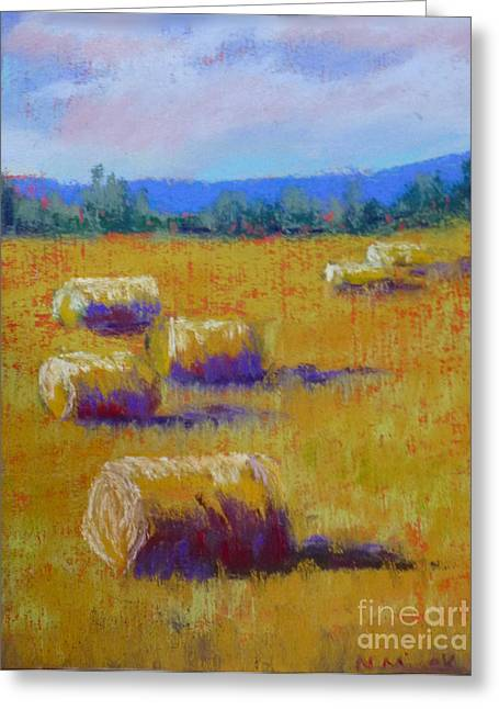 Bale Pastels Greeting Cards - Hay Bales Greeting Card by Nancy Misek