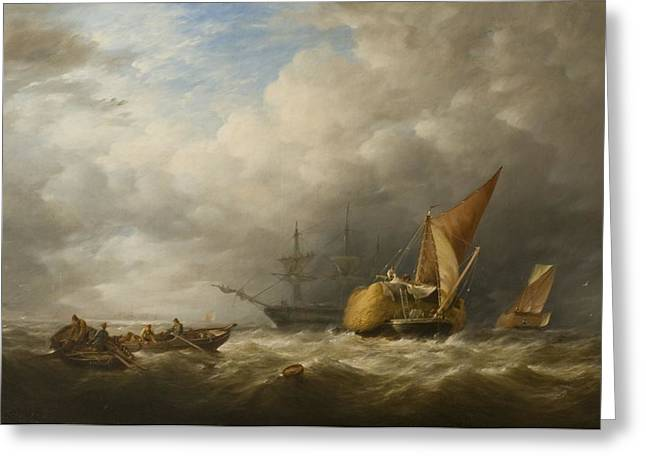 Turbulent Skies Greeting Cards - Hay Barges In The Thames Estuary Greeting Card by Alfred Herbert