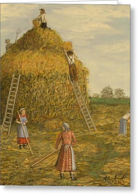 Haystack Framed Prints Greeting Cards - Hay days. Greeting Card by Larry Lamb
