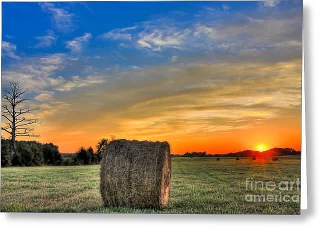 Haying Greeting Cards - Hay Down Sunset Greeting Card by Reid Callaway