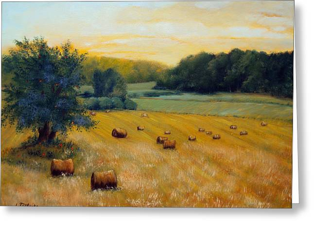 Maine Farms Paintings Greeting Cards - Hay Field  Greeting Card by Laura Tasheiko