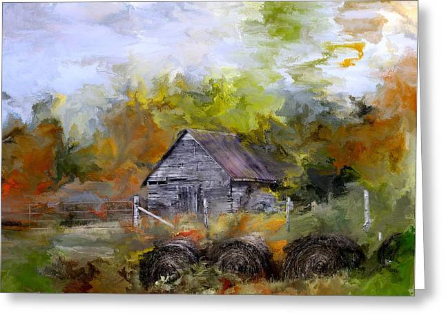 Old Barn Drawing Greeting Cards - Hay for My Horses Greeting Card by Evie Carrier