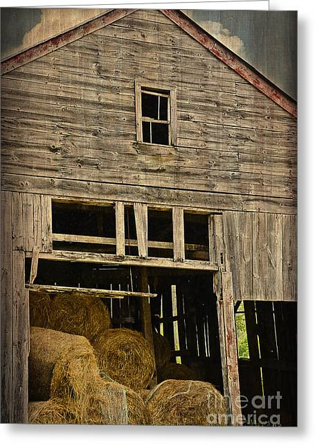 Old Maine Barns Greeting Cards - Hay For Sale Greeting Card by Alana Ranney