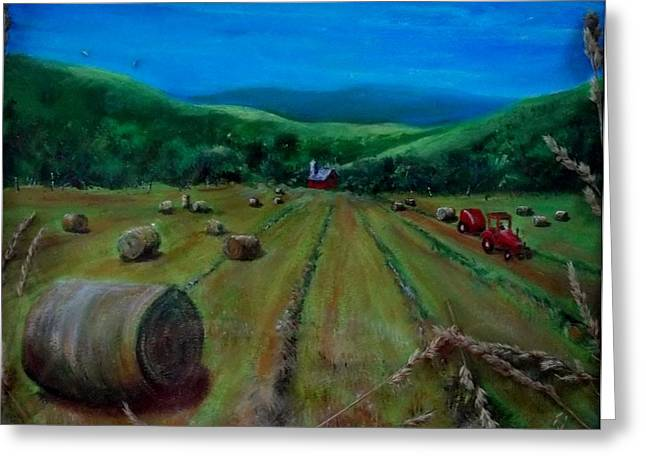 Haybale Mixed Media Greeting Cards - Hay Harvest Greeting Card by Joan Mace