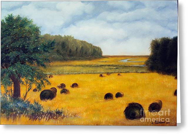 Maine Farms Paintings Greeting Cards - Hay Harvest Greeting Card by Laura Tasheiko