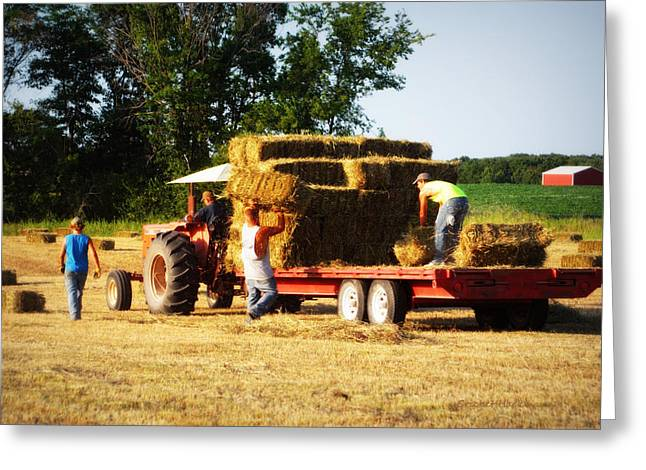 Hay Bales Greeting Cards - Hay Haulers Greeting Card by Cricket Hackmann