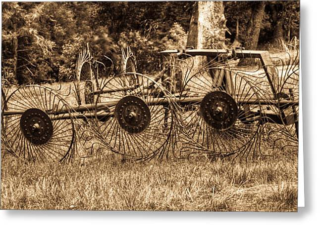 Hay Rake Greeting Cards - Hay Rake in Sepia 1 Greeting Card by Douglas Barnett