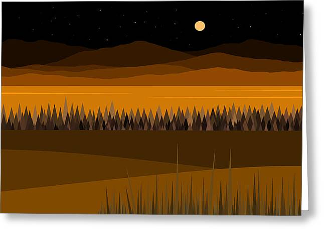 Hay Digital Art Greeting Cards - Hay Stack Mountain Night Sky Greeting Card by Val Arie