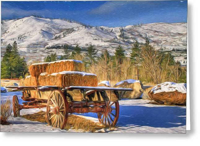 Hay Wagon Greeting Card by Donna Kennedy