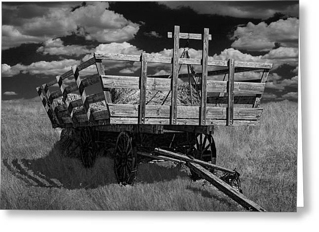 Wooden Wagons Greeting Cards - Hay Wagon on the Prairie in Black and White Greeting Card by Randall Nyhof