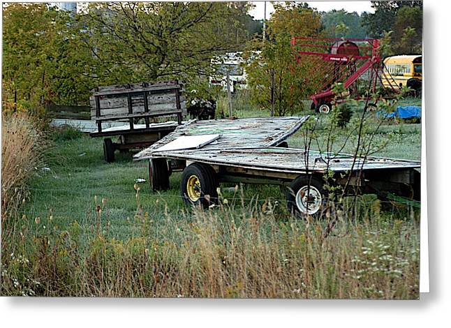 Rural School Bus Greeting Cards - Hay Wagons Greeting Card by Joseph Yarbrough