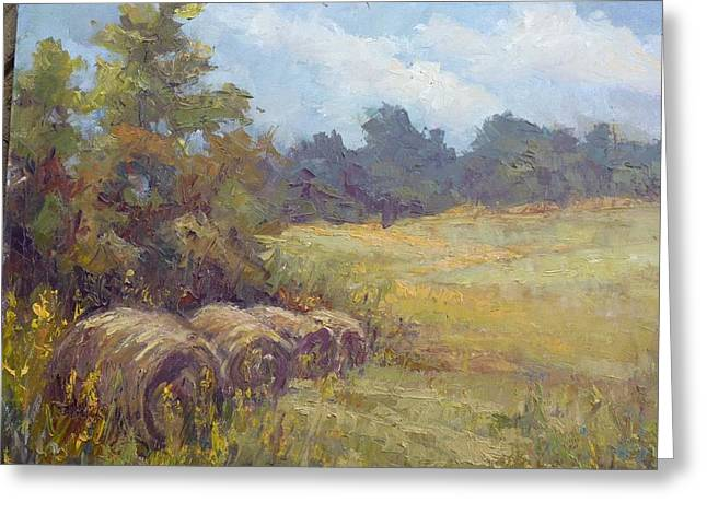 Bale Pastels Greeting Cards - Haybales in Ohio Greeting Card by Mary Ann Davis