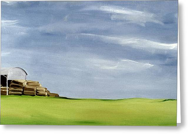 Bales Paintings Greeting Cards - Haybarn Dreaming Greeting Card by Ana Bianchi