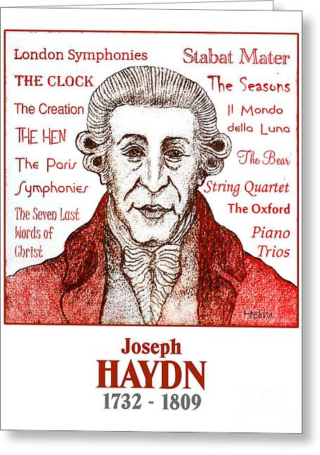 Quartet Drawings Greeting Cards - Haydn Greeting Card by Paul Helm