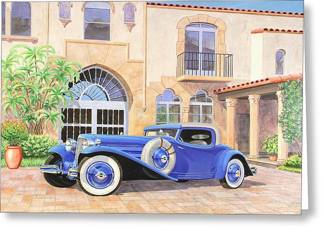 Beach Decor Posters Greeting Cards - HAYES COUPE  L-29 Cord vintage classicautomotive art sketch rendering         Greeting Card by John Samsen