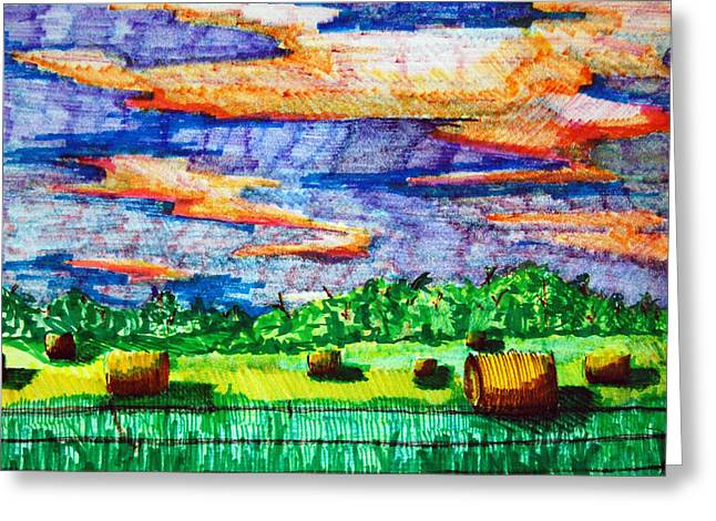 Hayfields Greeting Card by Jame Hayes