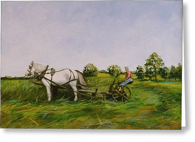 Haying Greeting Cards - Haying With Horses Greeting Card by Sherri Anderson