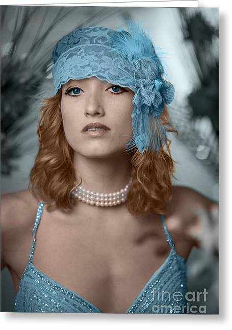 Evening Dress Digital Art Greeting Cards - Hayley Blue Greeting Card by Donald Davis