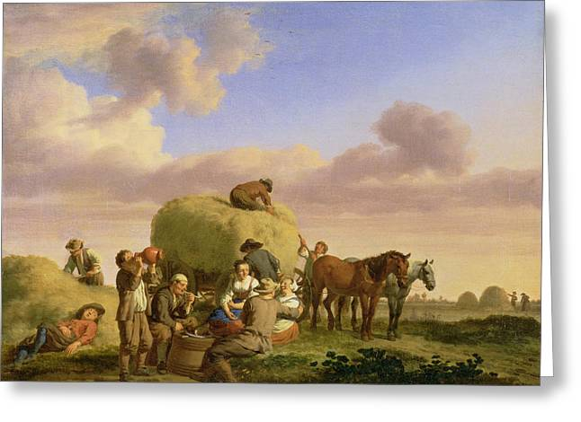 Farming Greeting Cards - Haymakers Resting In A Field Greeting Card by Adriaen van de Velde