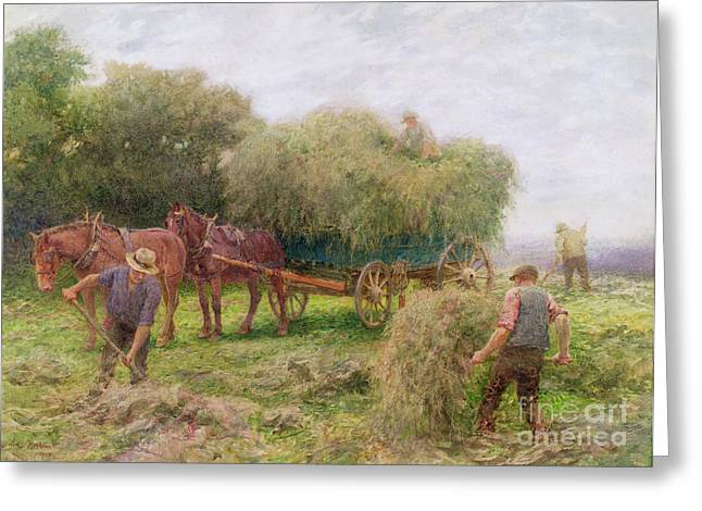 Horse Farm Greeting Cards - Haymaking Greeting Card by Arthur Hopkins
