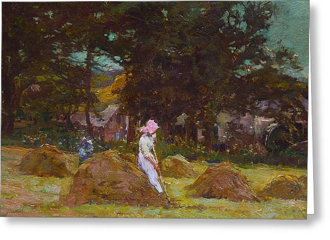 Bales Paintings Greeting Cards - Haymaking  Greeting Card by Elizabeth Adela Stanhope Forbes