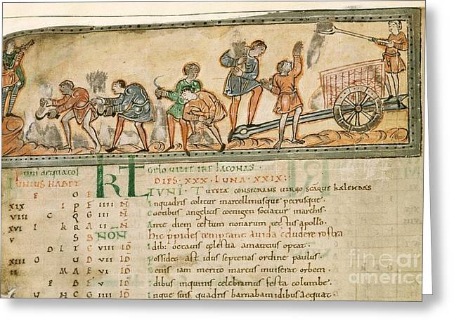 Harvest Art Greeting Cards - Haymaking In June, Anglo-saxon Calendar Greeting Card by British Library