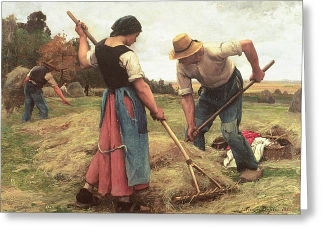 Man And Woman Greeting Cards - Haymaking Greeting Card by Julien Dupre