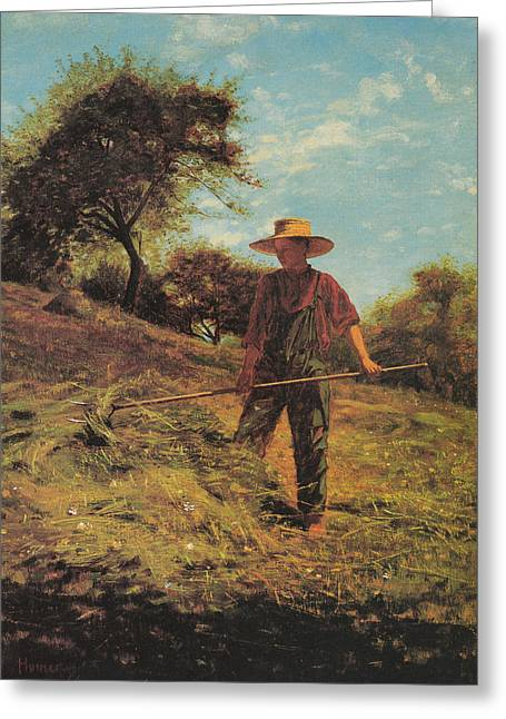 Winslow Homer Digital Art Greeting Cards - Haymaking Greeting Card by Winslow Homer