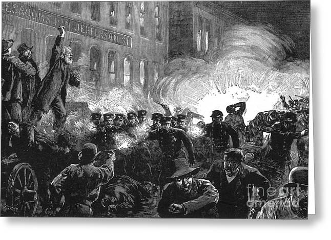 Police Art Greeting Cards - Haymarket Bombing, 1886 Greeting Card by Photo Researchers
