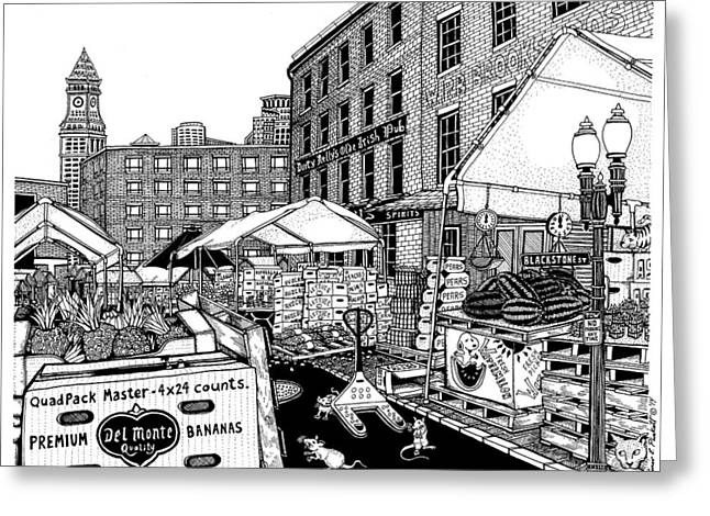 Boston Ma Drawings Greeting Cards - Haymarket Boston Greeting Card by Conor Plunkett