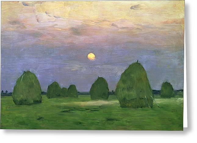 Fading Paintings Greeting Cards - Hayricks at Dusk Greeting Card by Isaak Ilyich Levitan