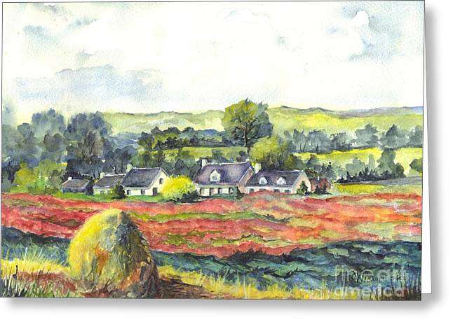 Farmers Field Greeting Cards - Haystack and Poppies  Greeting Card by Carol Wisniewski