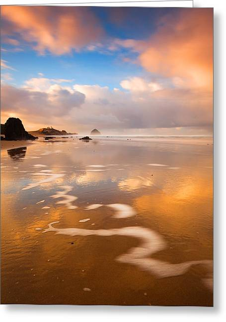 Sea Stack Reflections Greeting Cards - Haystack Gold Greeting Card by Darren  White