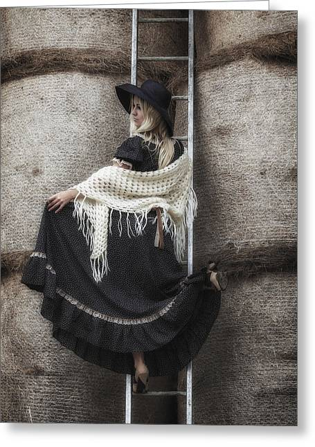 Black Scarf Greeting Cards - Haystack Greeting Card by Joana Kruse