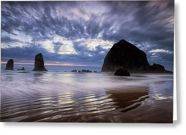 Cannon Beach Greeting Cards - Haystack Rock at Sunset Greeting Card by Andrew Soundarajan
